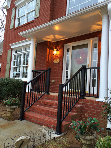 Redi rail front porch round columns stair solution for Round porch columns