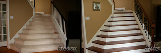 Angled Hardwood Staircase