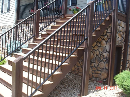 Iron x exterior handrails stair solution for Stair and railing solution